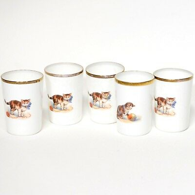 Porcelain Small Tumbler Gold Trim Cat Decal Set of Five