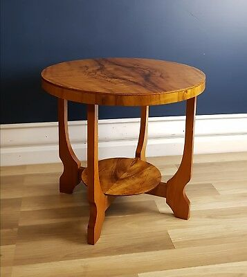 Art Deco Coffee / Hall / Side Table, Restored 1940 Flame Maple, Sofa, Antique