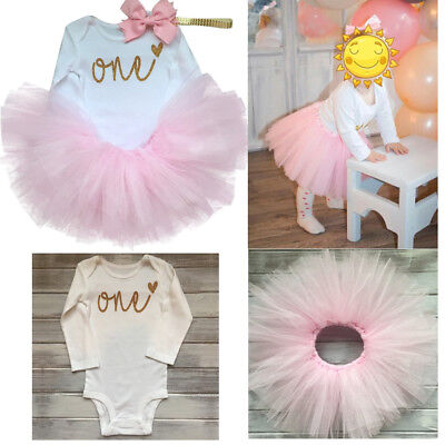 Baby Girl First 1st Birthday Outfit Sets Tutu Dress Cake Smash Headband Pink One