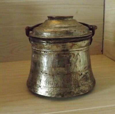 Antique Copper Cauldron Kettle Cooking Pot w/ Lid Middle Eastern Hand Hammered