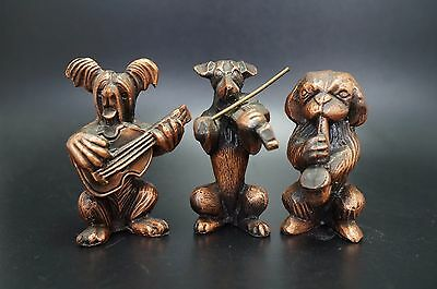 VTG Metal Dog Band SKYE TERRIER Dachshund PEKINGESE Dog Violin Saxophone Guitar