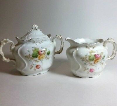 ANTIQUE EARLY 1800 English Floral SUGAR BOWL&CREAMER Hand painted Gold TRIMMED