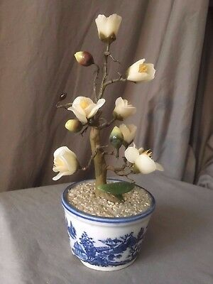 Vintage Bonsai Tree with Jade Green Leaves & White Cut Stone Flowers
