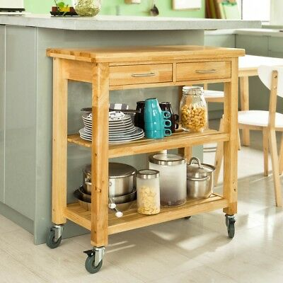 SoBuy® Rubber Wood Kitchen StorageTrolley Cart with Drawers & Shelves,FKW24-N,UK