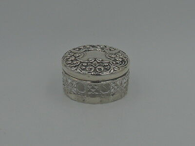 English Sterling Silver Repousse Lid & Cut Star Base Glass Ladies Vanity Jar