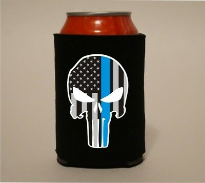 The Punisher Thin Blue Line Police Koozie Coozie Bottle Beer Can Holder Cooler