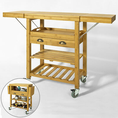 SoBuy® Bamboo Kitchen Storage Trolley Cart with Folding Worktop, FKW25-N, UK