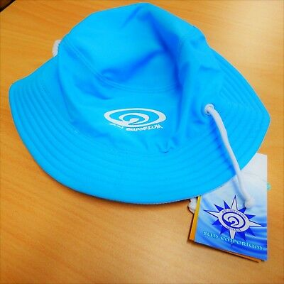 Sun Emporium Baby Girls Boys Size XS UPF50+Aqua & White Adj Swim Sun Beach Hat