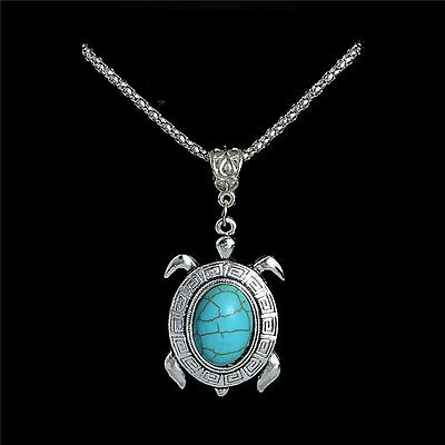 NEW Turtle Turquoise Tortoise Pendant Charm Silver Necklace Chain Jewelry Gift