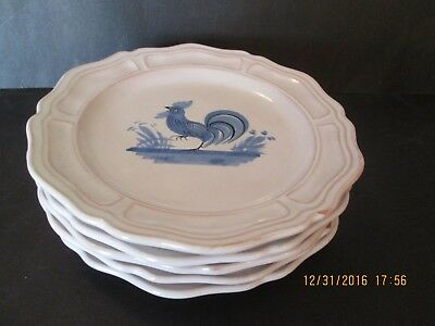 "Five Henriot Quimper 5"" Plates - Blue Chicken Design Scalloped Rims"