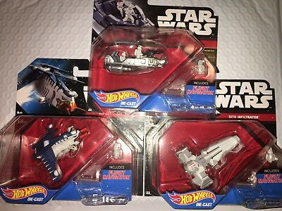 Hot Wheels Star Wars Lot Of (3) Die Cast Ships Free Shipping Save!!!
