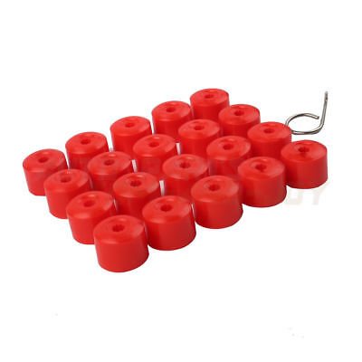 20x Red -- Wheel Nut Bolt Tire Screw Cover Caps 17mm + Tool For VW Golf MK4 Audi
