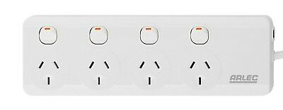 Arlec INDIVIDUALLY SWITCHED 4 OUTLET POWER BOARD PB44B 240V 10A 2400W 1m Cord