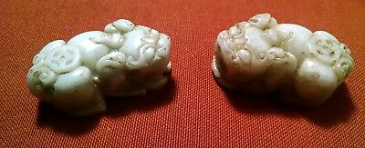 A Pair of Chinese Dynasty antique white jade carved beast/Foo Lion Dog