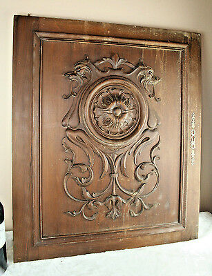 Antique French wood carved door panel cabinet Dragon chimaera  gothic NO2