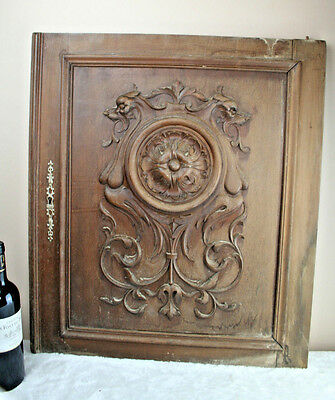 Antique French wood carved door panel cabinet Dragon chimaera  gothic NO1