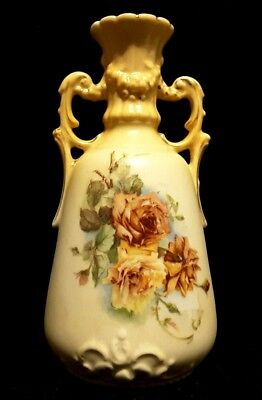 Antique~Edwardian~Blushware~Flower~Vase~Gold~Pink~Yellow Roses~Signed~Xmas~Gift