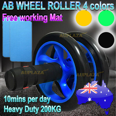AB FITNESS WHEEL ROLLER Abdominal Waist Workout Exercise Gym With 2pcs FREE MAT