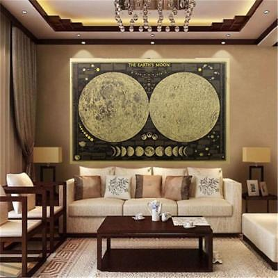 Vintage Retro Paper Earth's Moon World Map Poster Wall Chart Bedroom Home Dec GS