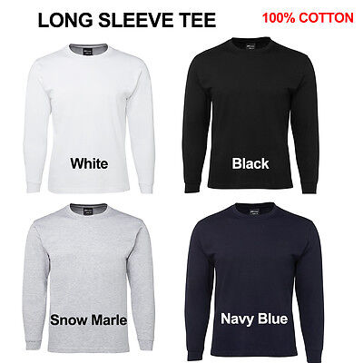 Mens Plain Long Sleeve T-Shirt 100% Cotton JBs Adults Blank Basic Tee S-3XL 1LS