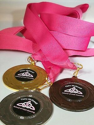 Sports Day Medal Personalised School Club Gold, Silver or Bronze & Ribbon