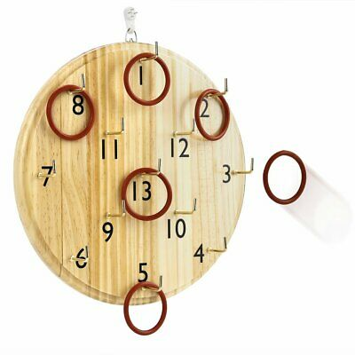 Wooden Board Hookey Ring Toss Game Disc Suspension Throwing Circle Play Toys