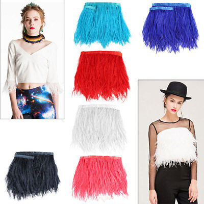 1 Metre Ostrich Feather Fringe Craft Trim Sewing Costume Millinery 13-18cm DIY
