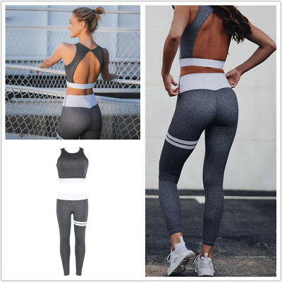Damen Sport Push Up BH Leggins Leggings Hose Set Fitness Yoga Printed Mode Set