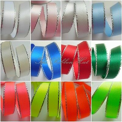 7mm /15mm Silver Edge Satin Ribbon-1/2/5 Metres-Berisfords-Wedding,Trim,Crafts