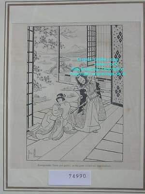 74990-Asien-Asia-Japan-Nippon-Nihon-Lorsquenfin Yotsu-T Holzstich-Wood engraving