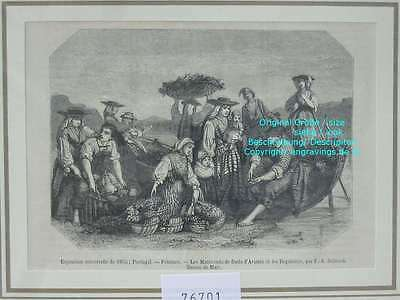 76701-Portugal-Portuguesa-Marchands-Avintes Regateiro-T Holzstich-Wood engraving