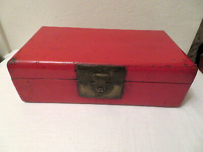Antique Asian Chinese? Red Lacquer 19th? Century Wood Box Leather? Bottom Signed