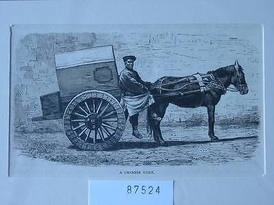 87524-Asien-Asia-China-Chinese Cart-T Holzstich-Wood engraving