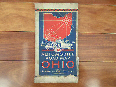 1927 OHIO Automobile Road Map CAR Illustrated Red Crown Gas Foldout