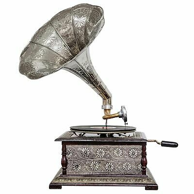 Antique style gramophone complete with horn decorative wooden base (k2)