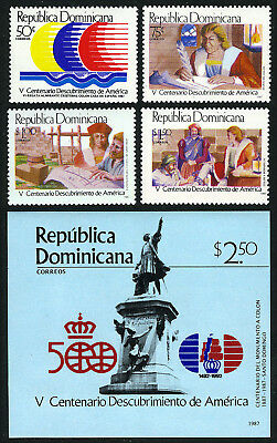 Dominican Republic 1002-1006, MNH.Discovery of America, 500th ann. Columbus,1987