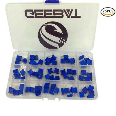GeeBat 75pcs 3296W 3296 Potentiometer Assorted Kit with High Precision Variable