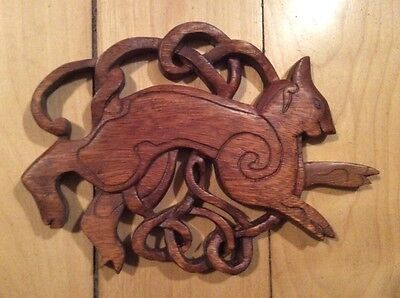 celtic wood carved cat