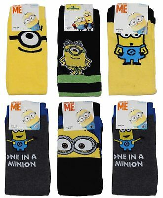 Mens Minions Socks Despicable Me Novelty Fathers Day Gift 6 PAIRS