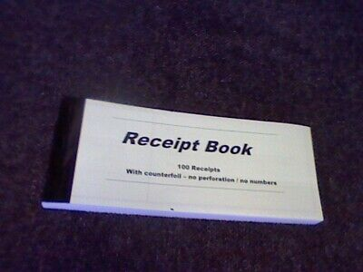 "RECEIPT BOOK WITH COUNTERFOILapp100-NO NUMBERS/PERFORATIONsee picture 7""x2.5""app"