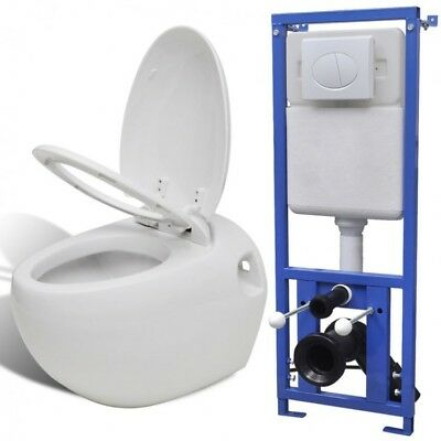 Wall Hung White Bathroom Toilet Cistern Set Ceramic Concealed Soft Close Seat