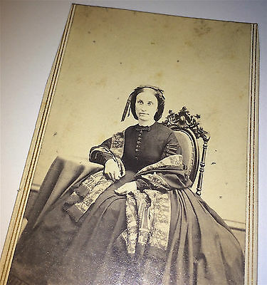Antique Civil War Era Victorian Woman! Fantastic Fashion! Connecticut CDV Photo!