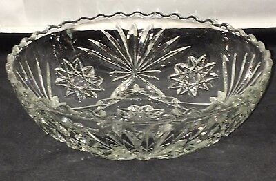 "Anchor Hocking EAPC* EARLY AMERICAN PRESCUT* CRYSTAL * 7 1/4"" SCALLOPED BOWL*"
