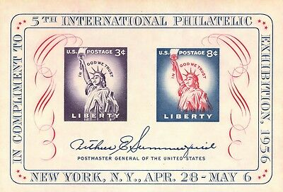 US 1956 Statue of Liberty Souvenir Sheet, Stamp 1075, Mint MNH - JP1