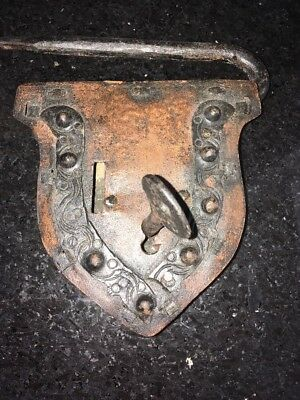 Vintage Large decoartive Iron padlock lock w key non-working GOTHIC