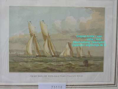 73118-Seefahrt-Schiffe-Ship-Marine-Yacht Isle of Wight-Lithographie-Lithography
