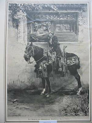 79560-Tiere-Animals-Pferd-Horse-Abschied des Schmugglers-Spain-TH-Wood engraving