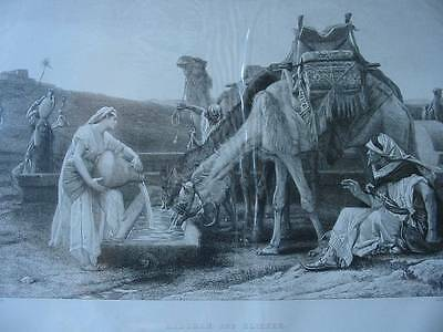 86299-Bibel-Bible-Rebekah and Eliezer-Kamel-Camel-Stahlstich-Steel engraving