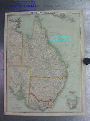 Australien-Australia-Karte-Map-Eastern Section-54x41cm-Lithographie-Lithography