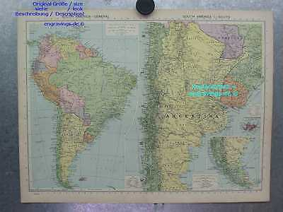 South America-Süd Amerika-Argentinien-Chile-MAP-48x35-Lithographie-Lithography